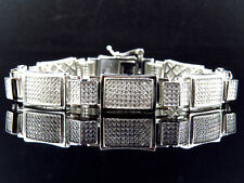 Mens White Gold Over Sterling Silver Simulated Diamond Designer Bracelet 8.5""