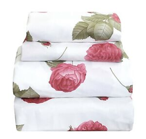 4 Pcs Floral Sheet Set Flat/Fitted/Pillowcases Rouge Pink Rose on White