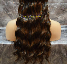 """18"""" BROWN MIX FLIP IN SECRET CLEAR WIRE HAIR PIECE EXTENSIONS NO CLIP IN/ON"""