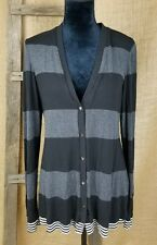 BAILEY 44 women L button front cardigan striped long sleeve