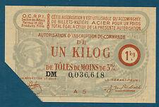 FRANCE - BON 1 KILOG DE TOLES DE MOINS DE 3MM. du 30-9-44. en NEUF  DM 0,036,618