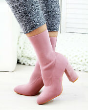 New Womens Sock Ankle Boots High Block Heel Pull On Casual Ladies Shoes Sizes