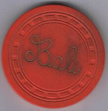 Bali Club Miami Beach Florida Illegal Red Casino Poker Chip 1920'-30's