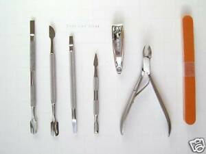 Nail Spoon Clipper File Cuticle Pusher Nipper 7 Pcs  Manicure/Pedicure Tools