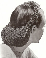 Vintage Crochet PATTERN to make Snood Hair Net Looped Head Band 1940s