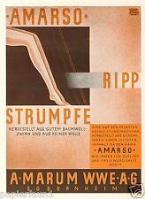 Nylons Strümpfe Amarso Marum Sobernheim Reklame 1930 Strumpfhosen Ripp Wolle ad