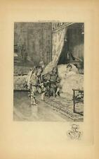ANTIQUE ELIZABETHAN COSTUME MAN CURTESY WOMAN BED COVERLET KNIGHT ARMOR ETCHING