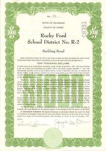 Rocky Ford School District > Otero County Colorado bond certificate stock share