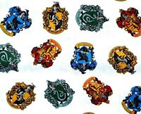 HARRY POTTER FABRIC HOGWARTS HOUSES  CRESTS  CAMELOT QUILT COTTON   BY THE YARD