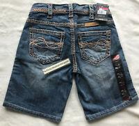 NEW Cowgirl Tuff Womens Shorts Barbwire Bermuda Blue DENIM MSRP $65 size 24 NWTs