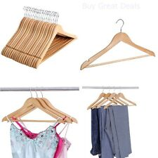 Wooden Wood Hangers Set of 20 Solid Wood Clothes Suit Skirt Dress Coat Pant -NEW