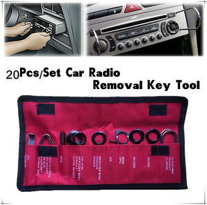 Universal Stainless steel 20 Pcs Car Radio Stereo CD Player Removal Key Tool Set