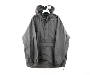 Vtg 90s J Crew Mens Large Blank Hooded Pullover Anorak Jacket Windbreaker Black