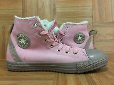 RARE�� Converse All Star Hollis CT Pink Leather Shearling Sz 5 Junior Girl Shoes