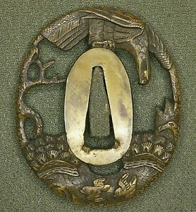 Soft Tsuba hunting Hawk on pine tree, Brass + gold plated eyes, legs and others