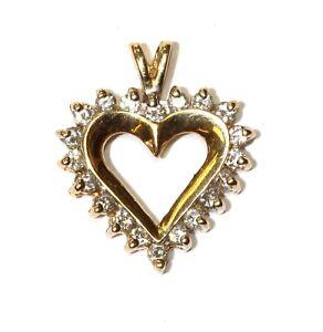 14k yellow gold .50ct SI1 G diamond heart pendant 2.3g estate vintage antique