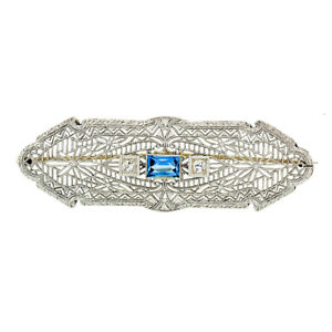 Antique Art Deco 14k White Gold Aquamarine & Diamond Open Filigree Wide Bar Pin