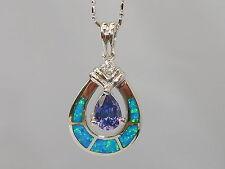 Ladies Art Deco Style Sterling 925 Fine Silver Opal Sapphire & Tanzanite Pendant