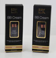 Simply Me Beauty BB Cream  Foundation Cream Deep SPF 15 2 FL 59mL LOT of 2 NEW