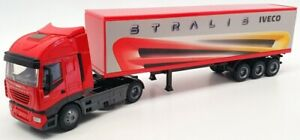 New Ray 1/43 Scale Model Truck 15613 - Iveco Stralis Container  - Red
