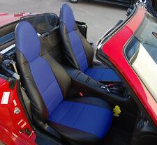 MAZDA MIATA 2001-2005 BLACK/BLUE LEATHER-LIKE CUSTOM MADE FRONT SEAT COVERS