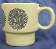 Mug Vintage Mandala Milk Glass Cup Beige Boho Stackable Medallion Geometric
