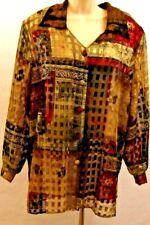 Expose Women's Blouse Size 18 Button-down Semi-sheer Brown Red Metallic Paisley
