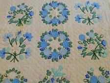 "Vintage Handmade BLUE FLORAL APPLIQUE QUILT 84x96"" Birds Hand Quilted"