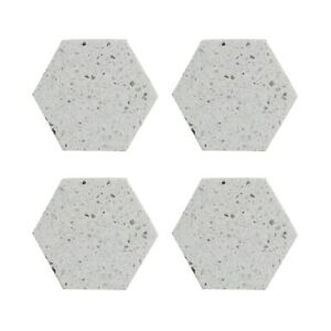 Set Of 4 Elements Terrazzo Grey Hexagonal Coasters Drinks Cups Mugs Glasses Mats