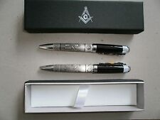2 NEW Boxed Free Mason TwoTone Black & Pewter Ballpoint Pen with Masonic Symbols