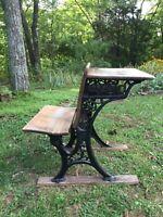 Antique School Desk & Chair Seat Cast Iron Wood Original Condition