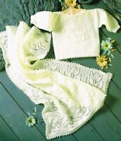 (779) Baby Blanket and Top Knitting Pattern, Flower Motif, 12-20'', in 4Ply