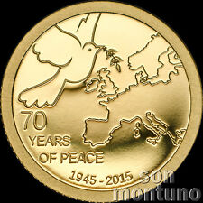70 YEARS OF PEACE IN EUROPE - 1/2 gram 24K GOLD PROOF COIN - 2015 Cook Islands