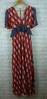 Twisted Wunder London dress maxi style V-neck red blue geometric print size UK 8