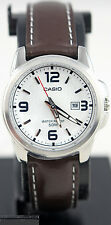 Casio Ltp-1314l-7av Ladies White Analog Watch Leather Band Date Display