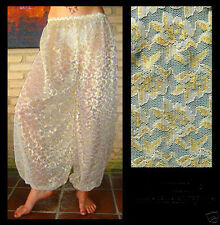Harem Pants Belly Dance Lace Cream White w/ Silver & Gold Floral Pattern