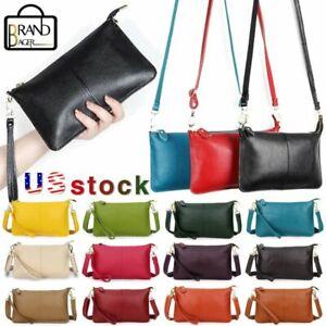 Women Genuine Leather Small Day Clutch Messenger Handbag Crossbody Shoulder Bag
