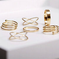 Charm Unique Ring Set Punk Alloy Knuckle Rings for Womens 6 PCS Finger Rings 3C