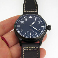 44mm Parnis Small Second 6498 Hand Winding Boy Men's Watch Black PVD Coated Case