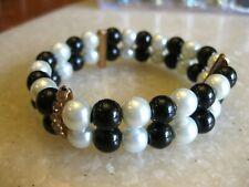 Black & White Glass Pearls Stretch Bracelet w/ Rhinestone Stabilizers FREE SHIP