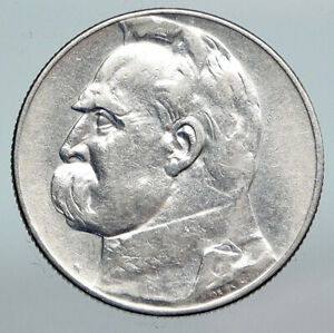 1934 POLAND Silver with Jozef Pilsudski OLD Antique Silver 5 Zlotych Coin i90308