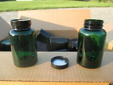 60 Empty Green Plastic Pill Bottles Cap Vitamin Capsule Twist Off Lids 250cc H