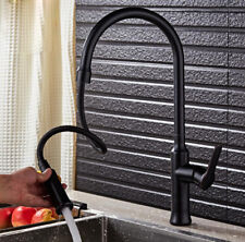 Deck Mounted Kitchen Sink Faucet Mixer Pull Out Sprayer Swivel Spout Brass Black