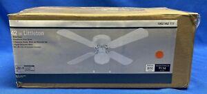 Littleton 42 in. LED Indoor White Ceiling Fan w/ Light Kit