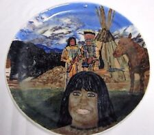 Hand Thrown Decorative Plate Blackfoot Indian Theme