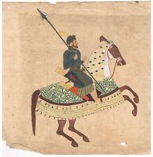Hand Painted Indian Painting Miniature Portrait Of Mughal Emperor King On Horse