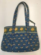VERA BRADLEY Quilted Purse Shoulderbag Hobo Blue Cotton Honey Bees