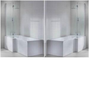 l shape shower bath tub left right hand 1600 1700 large 1800 screen panel White