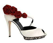 ARAMONTE NOIR Rachel Simpson IVORY BLACK LACE RED ROSES BRIDAL FORMAL Size 38