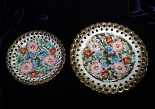 2 Vintage 40's 60's Ardalt Lenwile Hand Painted Reticulated Floral Dishes Japan